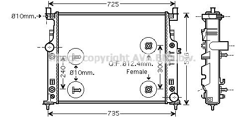 Radiateur, refroidissement du moteur AVA QUALITY COOLING MS2436 (X1)