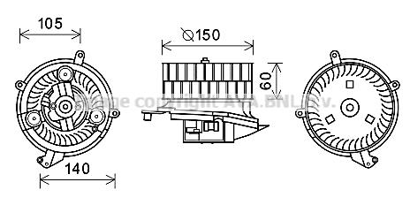 Moteur de ventilateur de chauffage AVA QUALITY COOLING MS8623 (X1)