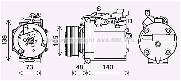Compresseur AVA QUALITY COOLING MTAK263 (X1)