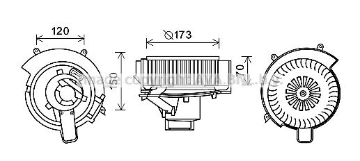 Moteur de ventilateur de chauffage AVA QUALITY COOLING OL8637 (X1)