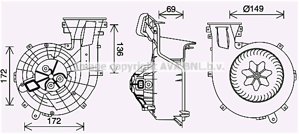 Moteur de ventilateur de chauffage AVA QUALITY COOLING OL8693 (X1)