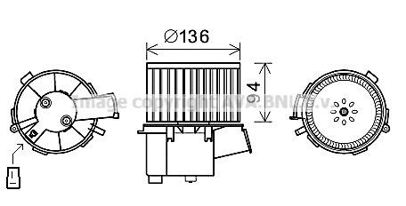 Moteur de ventilateur de chauffage AVA QUALITY COOLING PE8377 (X1)