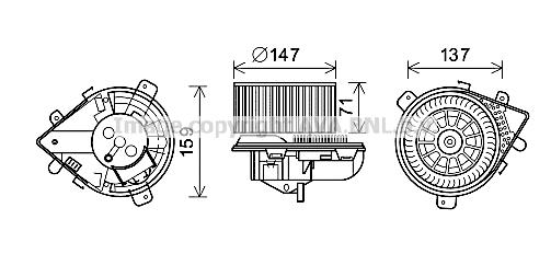 Moteur de ventilateur de chauffage AVA QUALITY COOLING PE8379 (X1)