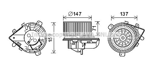 Moteur de ventilateur de chauffage AVA QUALITY COOLING PE8380 (X1)