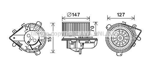 Moteur de ventilateur de chauffage AVA QUALITY COOLING PE8393 (X1)