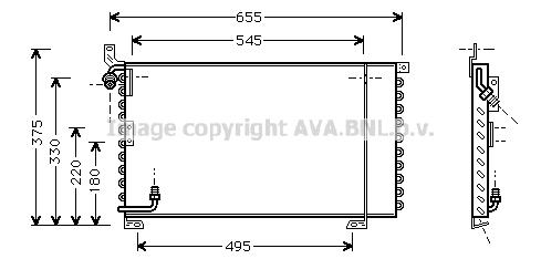 Condenseur / Radiateur de climatisation AVA QUALITY COOLING PR5025 (X1)