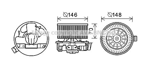 Moteur de ventilateur de chauffage AVA QUALITY COOLING RT8579 (X1)