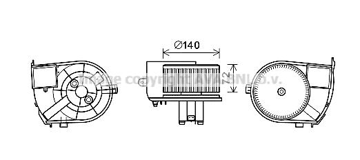 Moteur de ventilateur de chauffage AVA QUALITY COOLING RT8590 (X1)