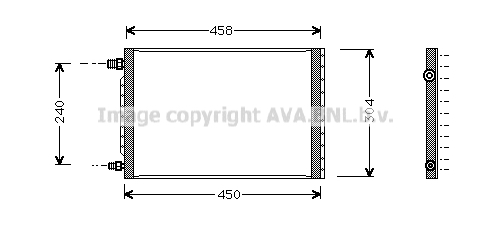 Condenseur / Radiateur de climatisation AVA QUALITY COOLING UV5007 (X1)