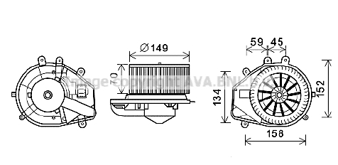 Moteur de ventilateur de chauffage AVA QUALITY COOLING VN8352 (X1)
