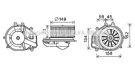Moteur de ventilateur de chauffage AVA QUALITY COOLING VN8353 (X1)