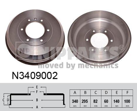 Tambour de frein arriere NIPPARTS N3409002 (X1)