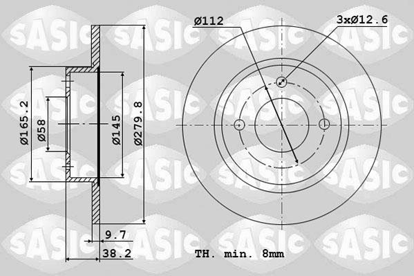 Disque de frein avant SASIC 6106260 (Jeu de 2)