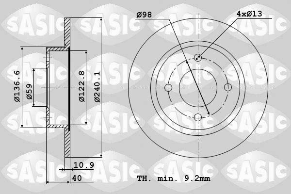 Disque de frein SASIC 9004388J (Jeu de 2)
