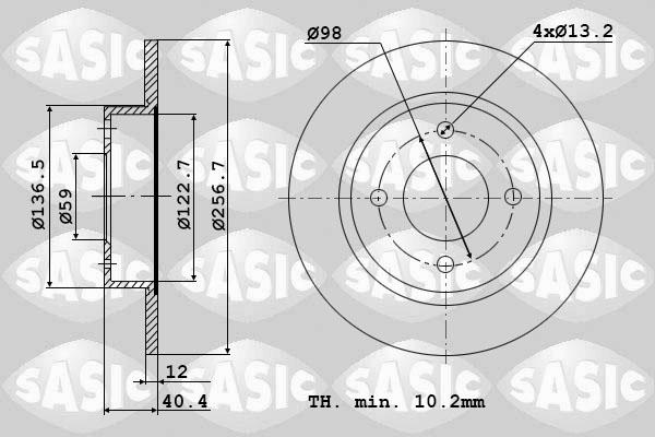 Disque de frein avant SASIC 9004389J (Jeu de 2)