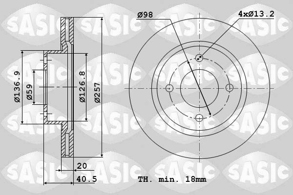 Disque de frein avant SASIC 9004455J (Jeu de 2)
