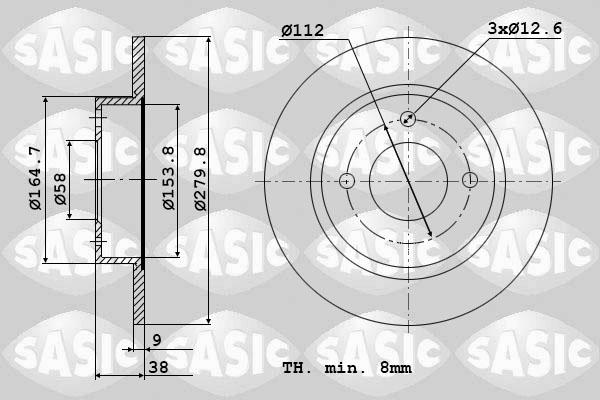 Disque de frein avant SASIC 9004892J (Jeu de 2)