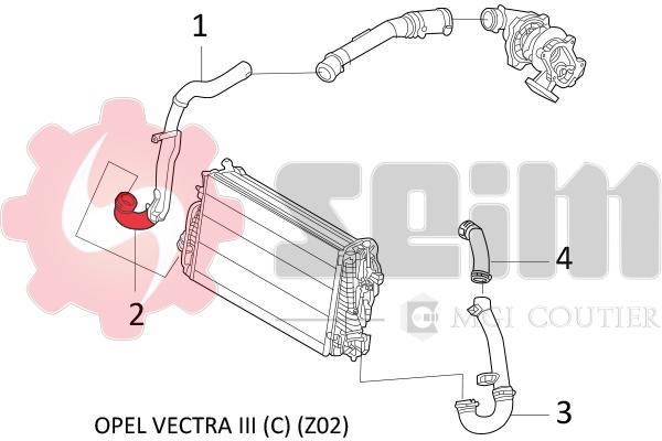 Vectra C Dti 2.0 2.2 Refroidisseur Turbo Tuyau Silicone Kit 24415009 55352542