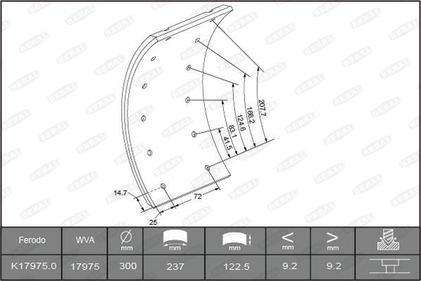 Kit de garnitures de frein (machoires)pour frein à tambour BERAL 1735109306015613 (Jeu de 4)
