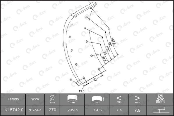 Kit de garnitures de frein (machoires)pour frein à tambour ABEX J1293928 (Jeu de 4)
