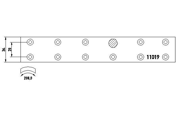 Kit de garnitures de frein (machoires)pour frein à tambour DON MB90912S7121 (X1)