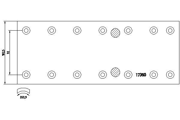 Kit de garnitures de frein (machoires)pour frein à tambour DON MB1001012S7121 (X1)