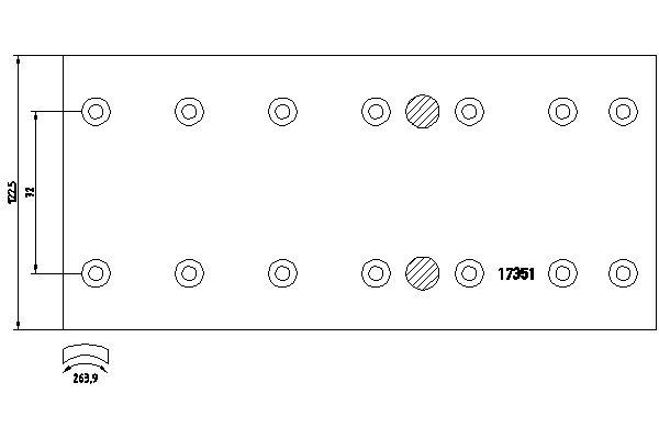 Kit de garnitures de frein (machoires)pour frein à tambour DON MB1171182S7121 (X1)