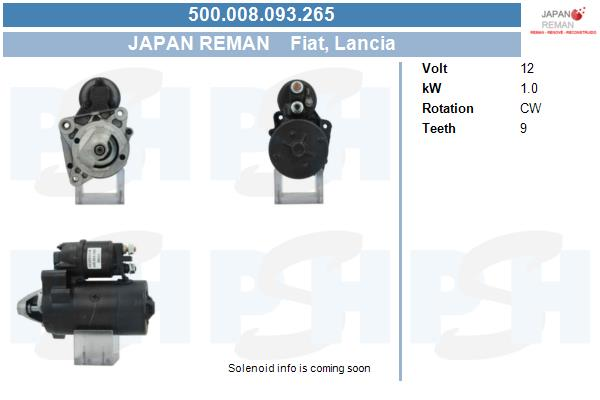 Demarreur BV PSH 500.008.093.265 (X1)