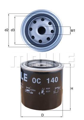 Filtre a huile MAHLE OC 140 (X1)