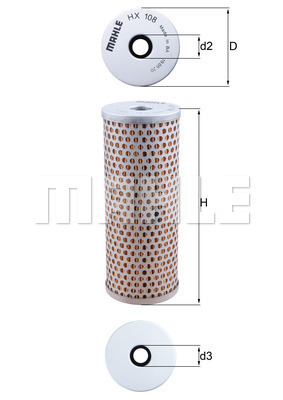 Filtre a huile de circuit hydraulique MAHLE HX 108 (X1)