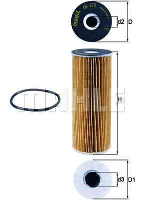 Filtre a huile MAHLE OX 133D (X1)