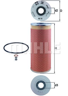 Filtre a huile MAHLE OX 72D (X1)