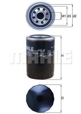 Filtre a huile de circuit hydraulique MAHLE HC 6 (X1)