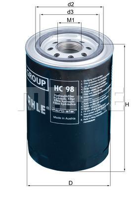 Filtre a huile de boite de vitesse MAHLE HC 98 (X1)