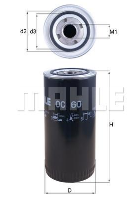 Filtre a huile MAHLE OC 60 (X1)