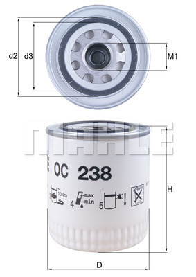 Filtre a huile MAHLE OC 238 (X1)