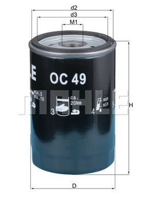 Filtre a huile MAHLE OC 49 (X1)