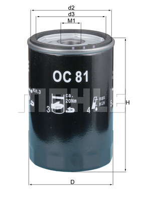 Filtre a huile MAHLE OC 81 (X1)