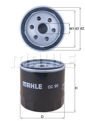 Filtre a huile MAHLE OC 90 (X1)