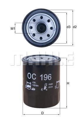 Filtre a huile MAHLE OC 196 (X1)