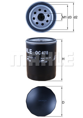 Filtre a huile MAHLE OC 478 (X1)