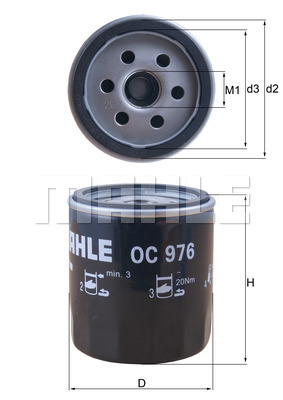 Filtre a huile MAHLE OC 976 (X1)