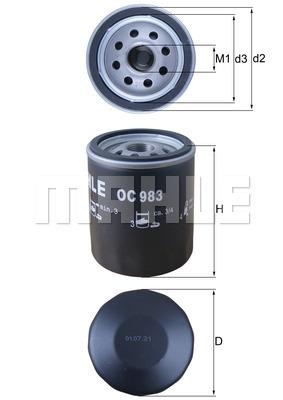 Filtre a huile MAHLE OC 983 (X1)