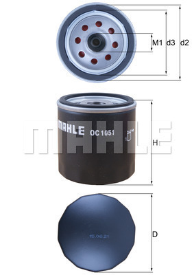 Filtre a huile MAHLE OC 1051 (X1)