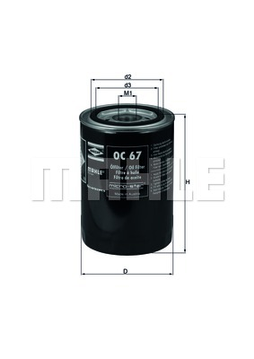 Filtre a huile MAHLE OC 67 (X1)