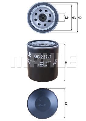 Filtre a huile MAHLE OC 237/1 (X1)