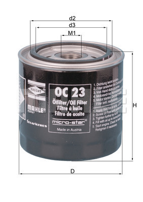 Filtre a huile MAHLE OC 23 OF (X1)