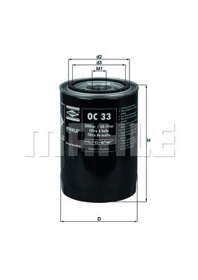 Filtre a huile MAHLE OC 33 (X1)