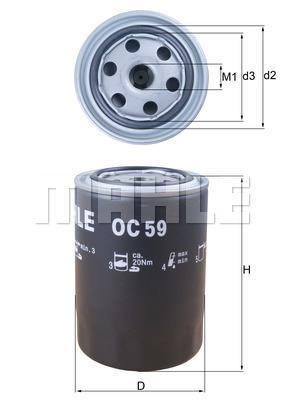 Filtre a huile MAHLE OC 59 (X1)