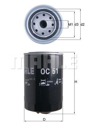 Filtre a huile MAHLE OC 51 (X1)